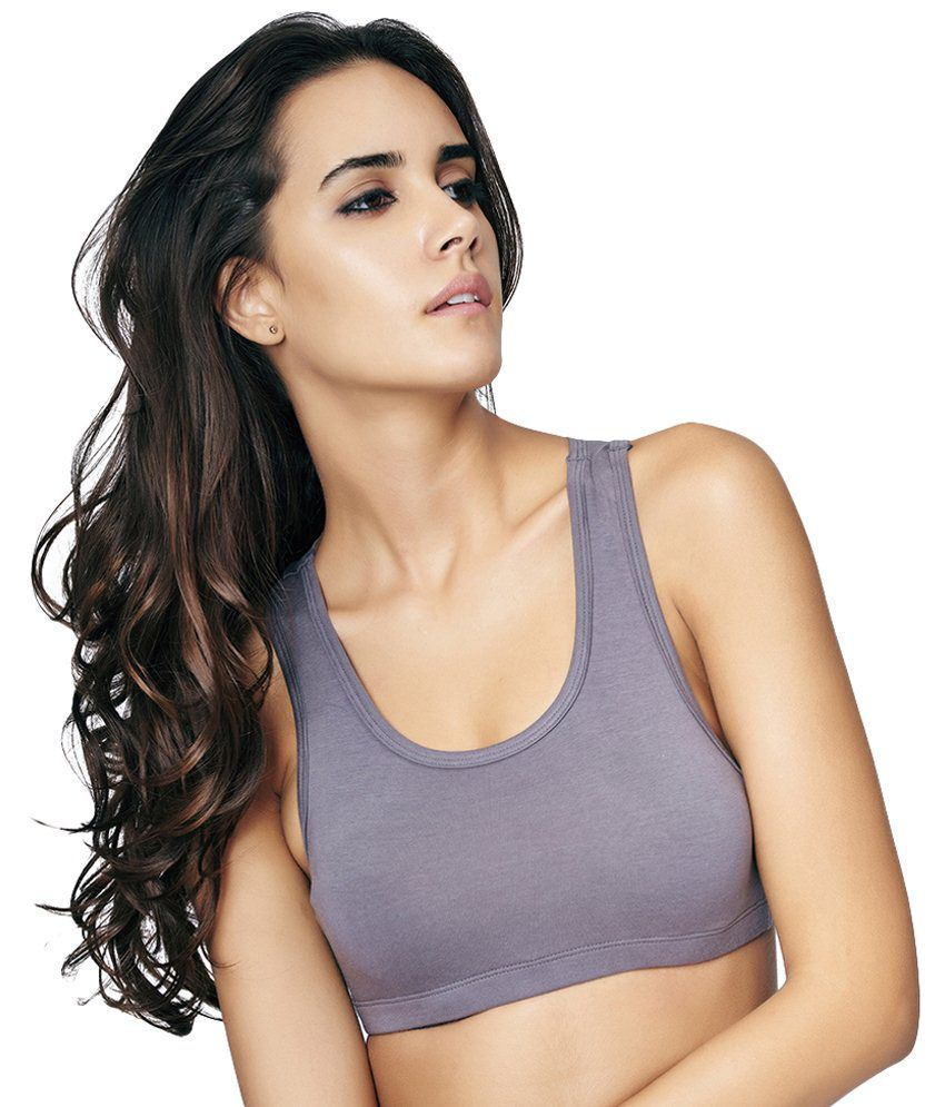 Restless Gray Stretchable Sports Bra
