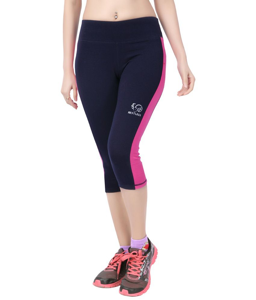 Restless Navy Blue & Pink Stretchable Sports Capris