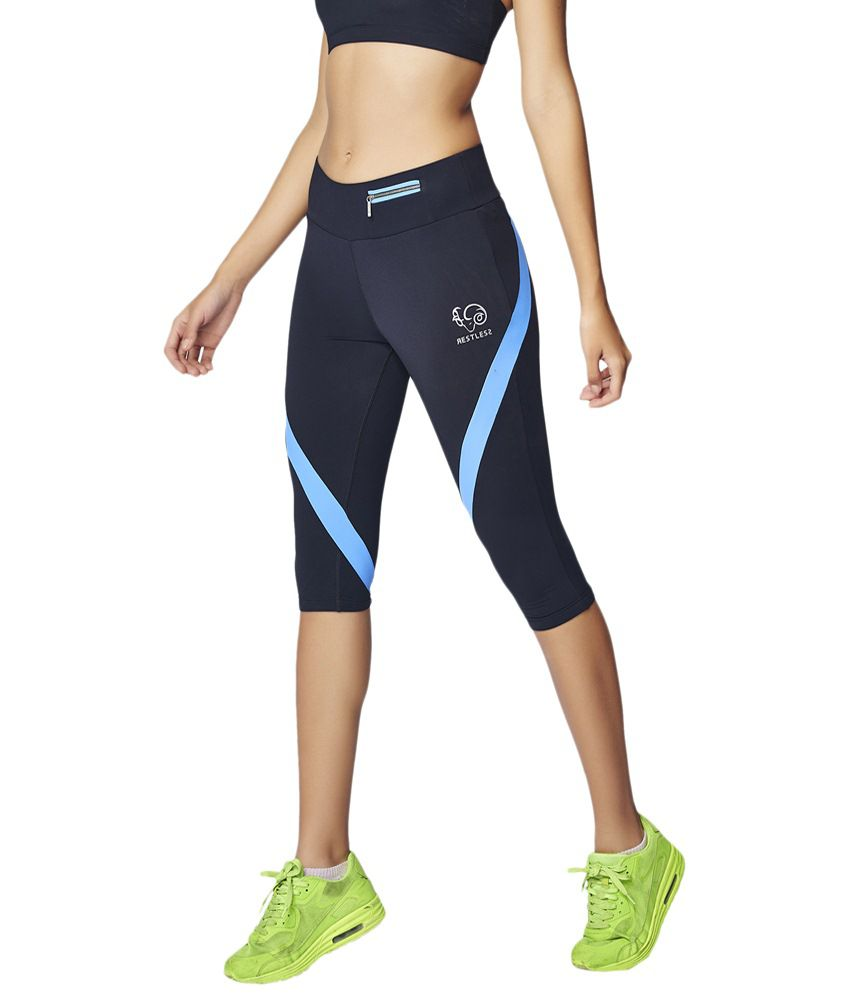 Restless Navy Blue Stretchable Sports Capris