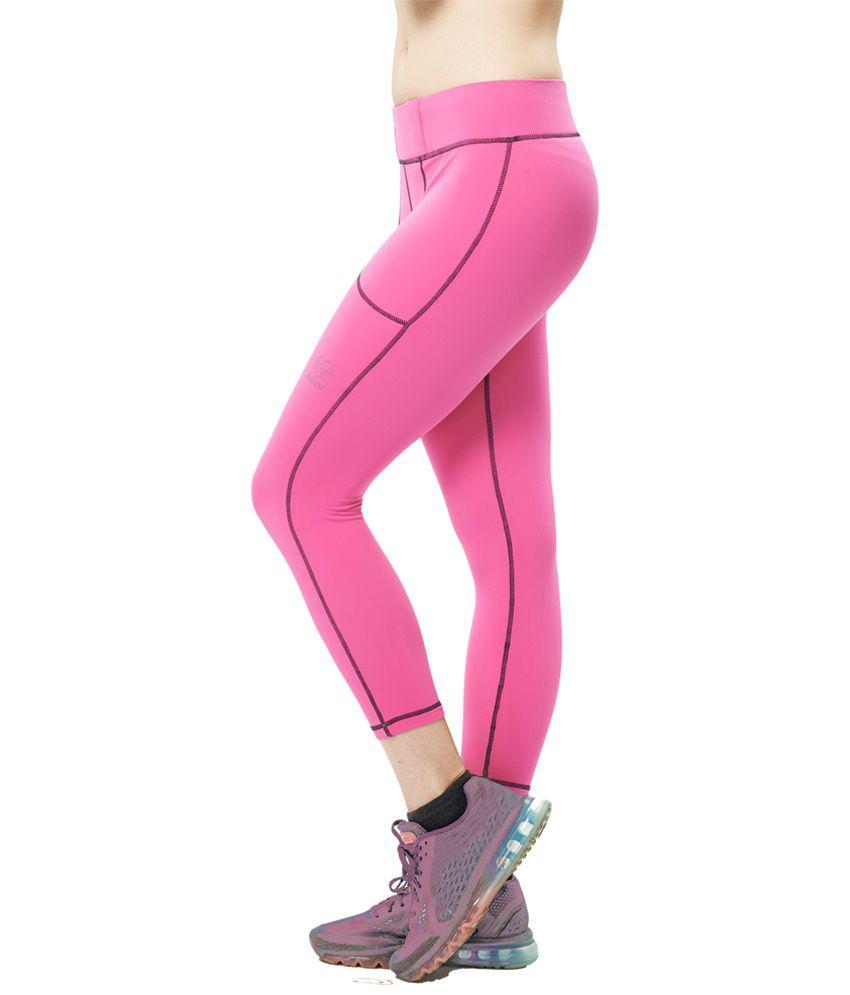 Restless Pink Stretchable Sports Calf Length Leggings