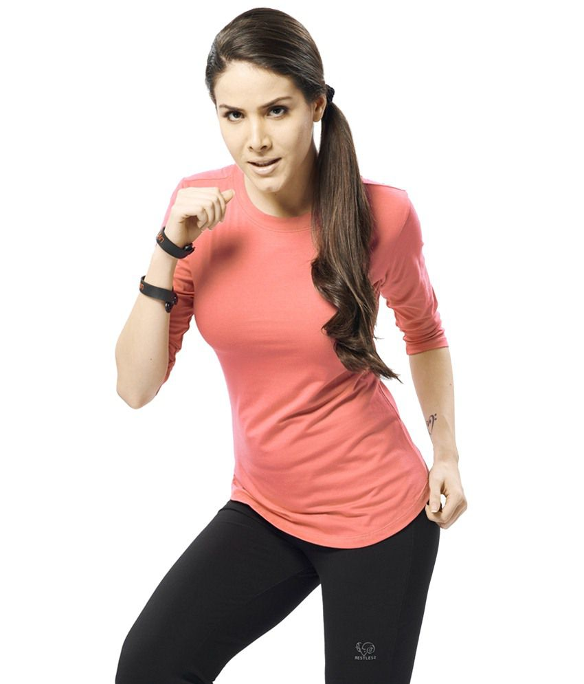Restless Pink Stretchable Sports T Shirt