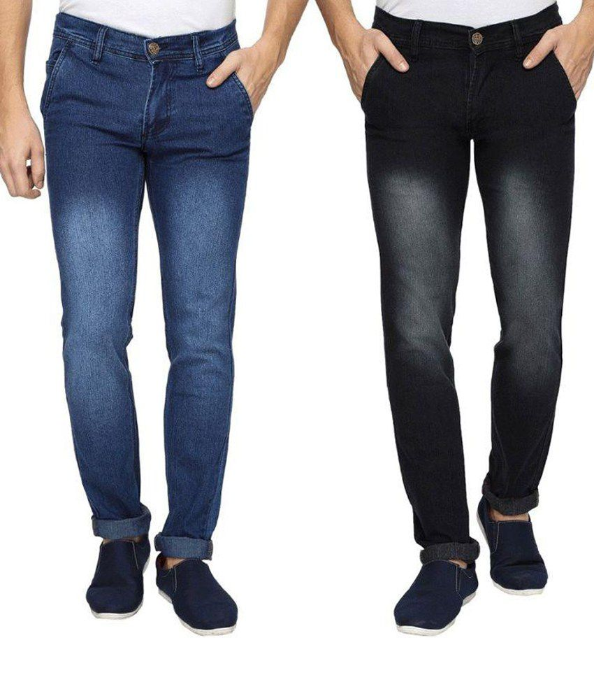 Wajbee Blue and Black Regular Fit Jeans - Pack of 2