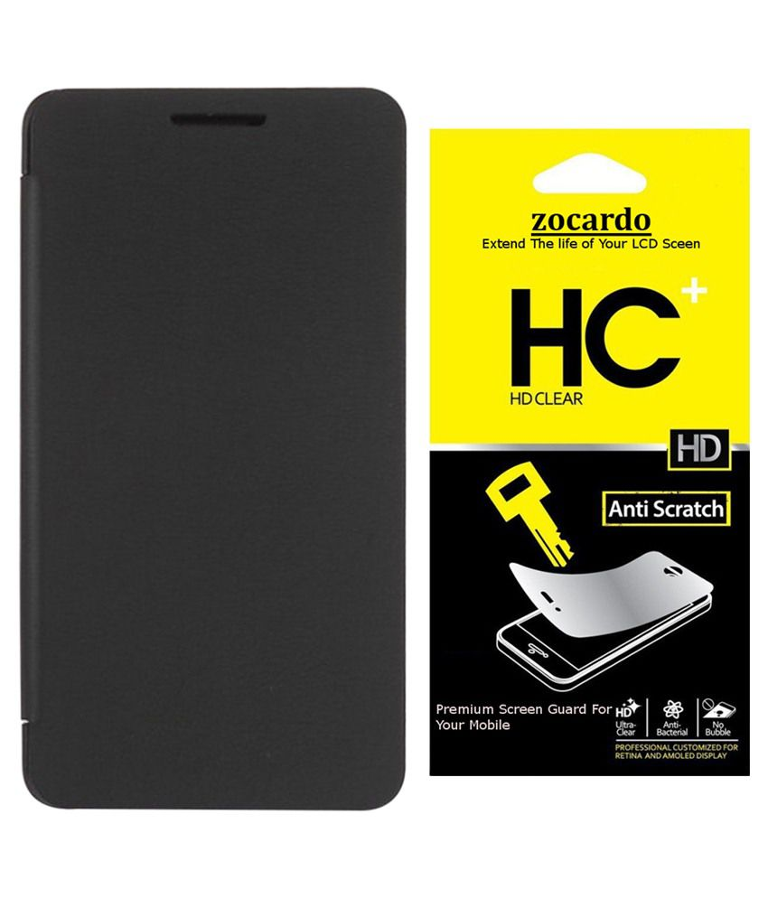 quality design 854d2 596d5 Zocardo Flip Cover For Intex Aqua Speed Hd-black With 2 Screen Guard