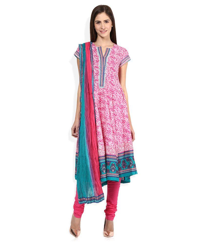 Biba Pink Cotton Churidar Kurta With Dupatta