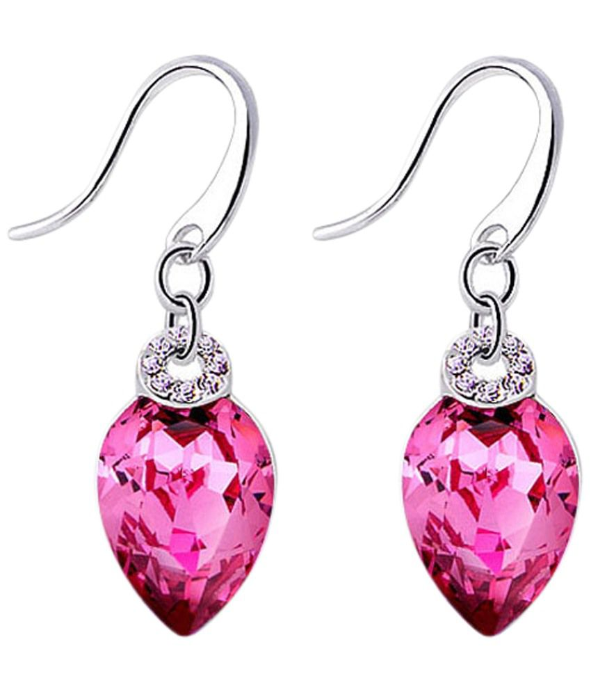 Yellow Chimes Pink & Silver Crystal Drop Earrings