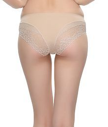 Clovia Beige Polyamide With Spandex,lace Panties