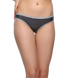 Clovia Gray Polyamide With Spandex,lace Panties