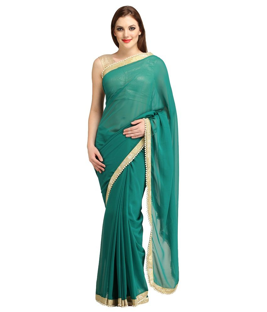 99shoppers Green Faux Georgette Saree