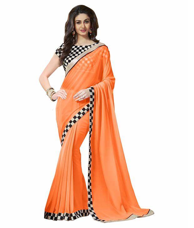 Bhuwal Fashion Designer Orange Georgette Saree