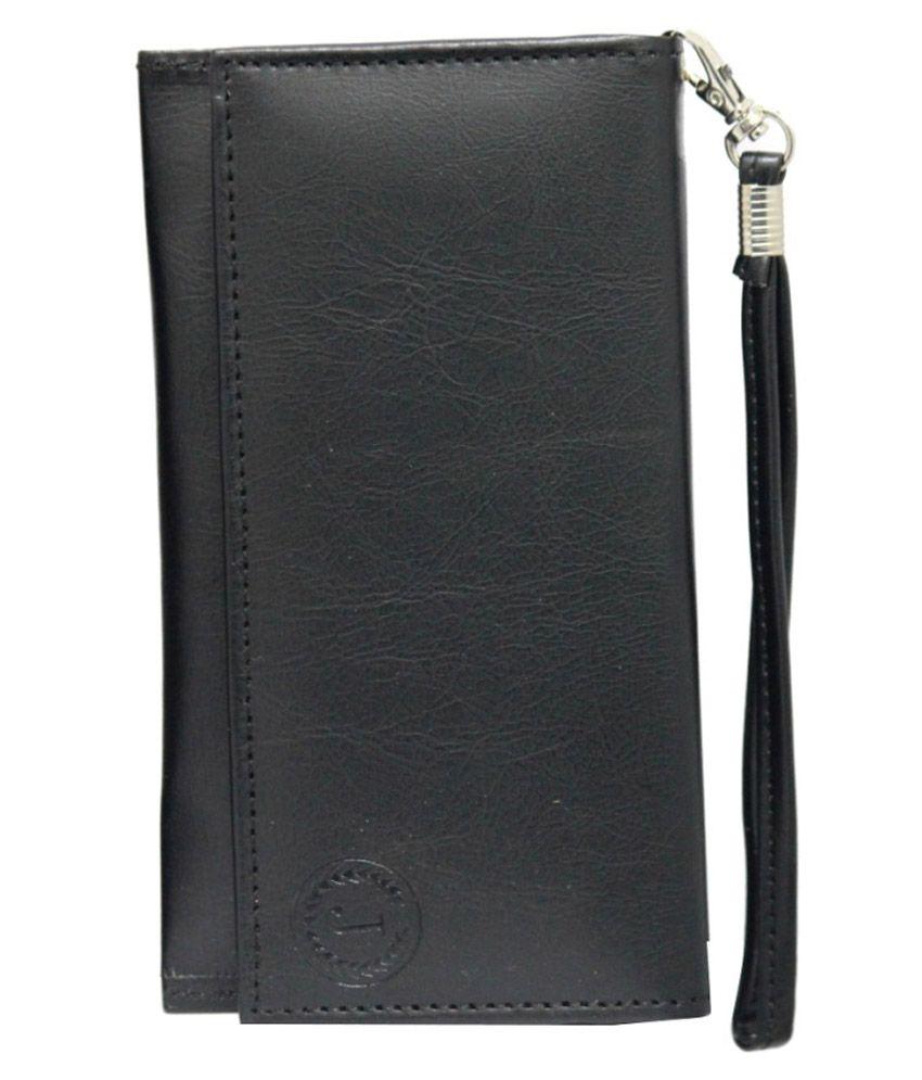 Jo Jo Wallet Case For Videocon Mobiles Z55 Dash - Black