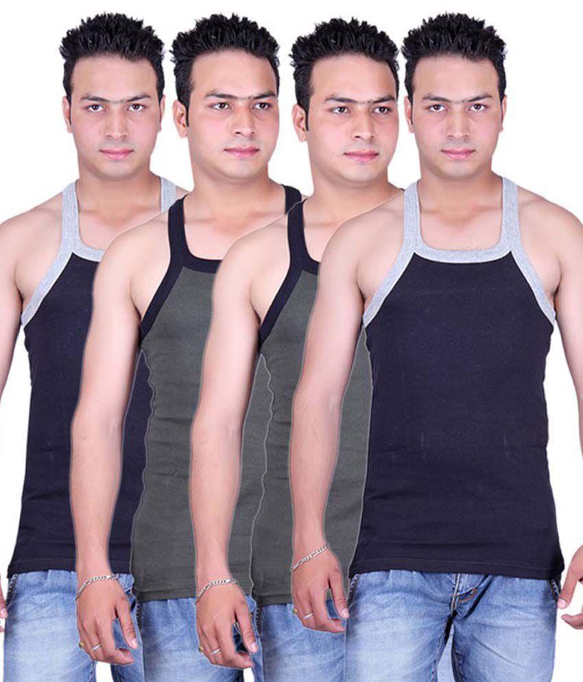 Tulsi Ram Fabrics Tulsi Ram Fabrics Blue & Gray Cotton Vest Pack Of 4