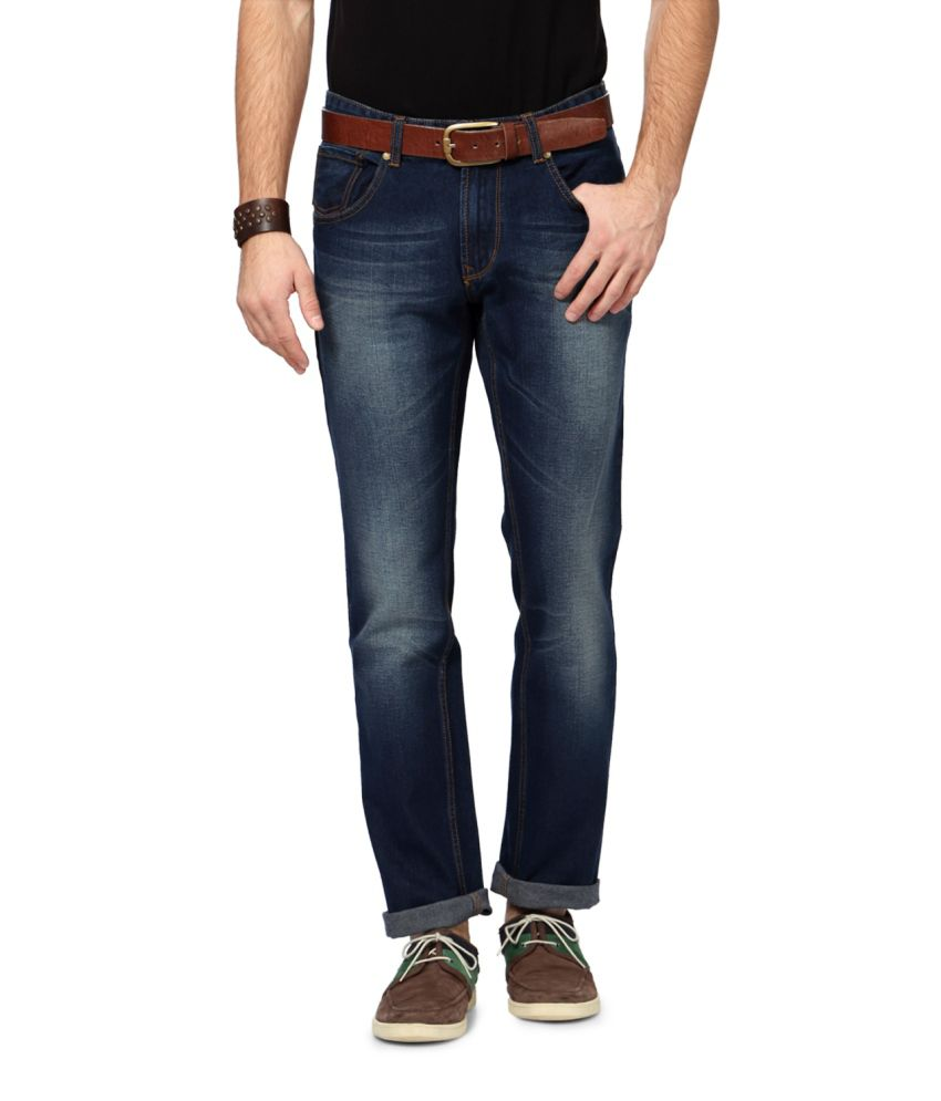 People Blue Blended Cotton Jeans