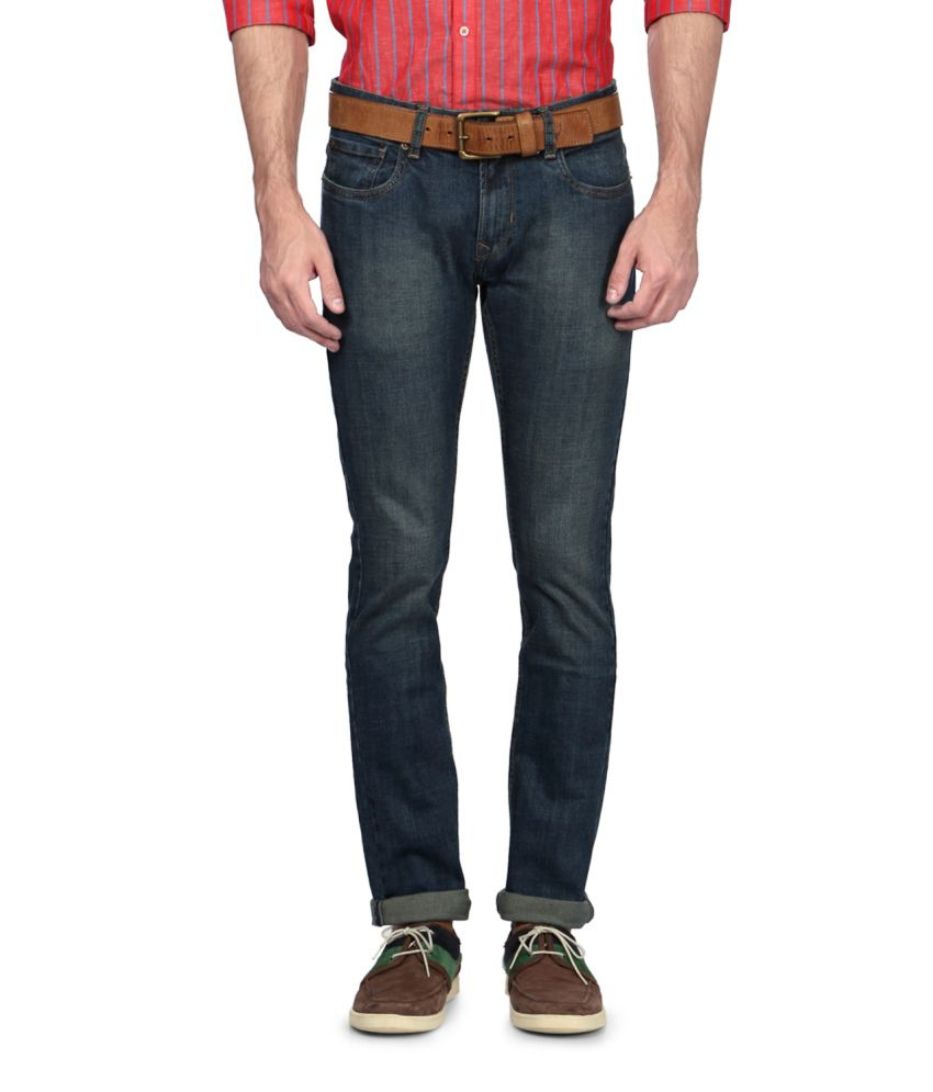 Peter England Blue Blended Cotton Jeans