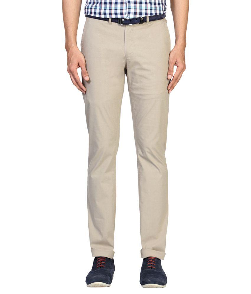 Allen Solly Beige Slim Fit Casual Trousers