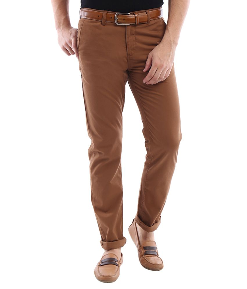 Allen Solly Brown Regular Fit Casual Trousers