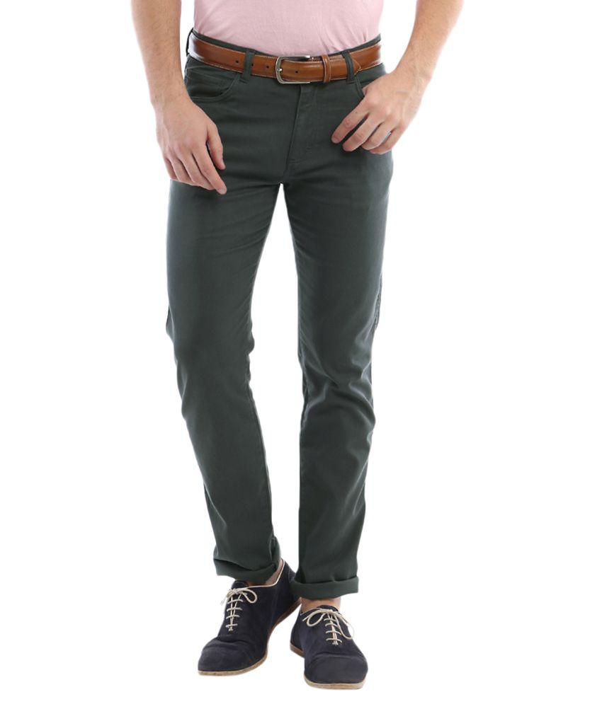 Allen Solly Green Slim Fit Trousers