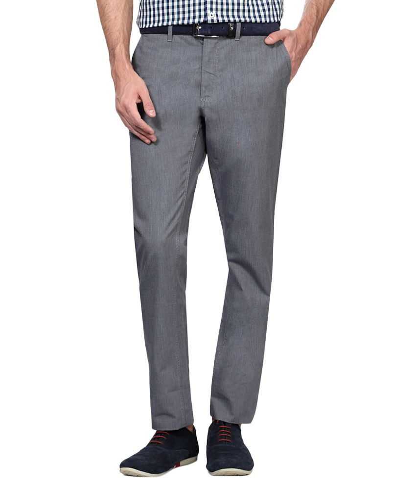 Allen Solly Grey Regular Fit Trousers