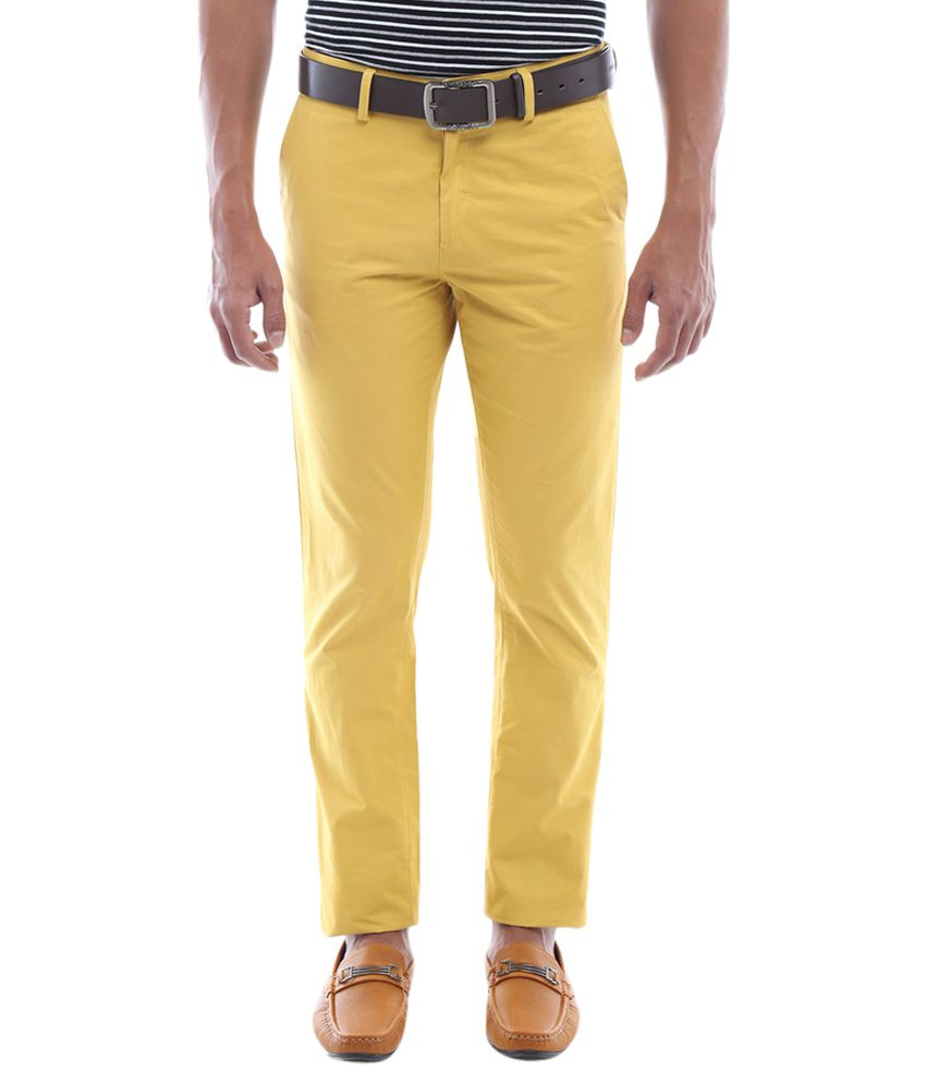 Allen Solly Yellow Slim Fit Trousers