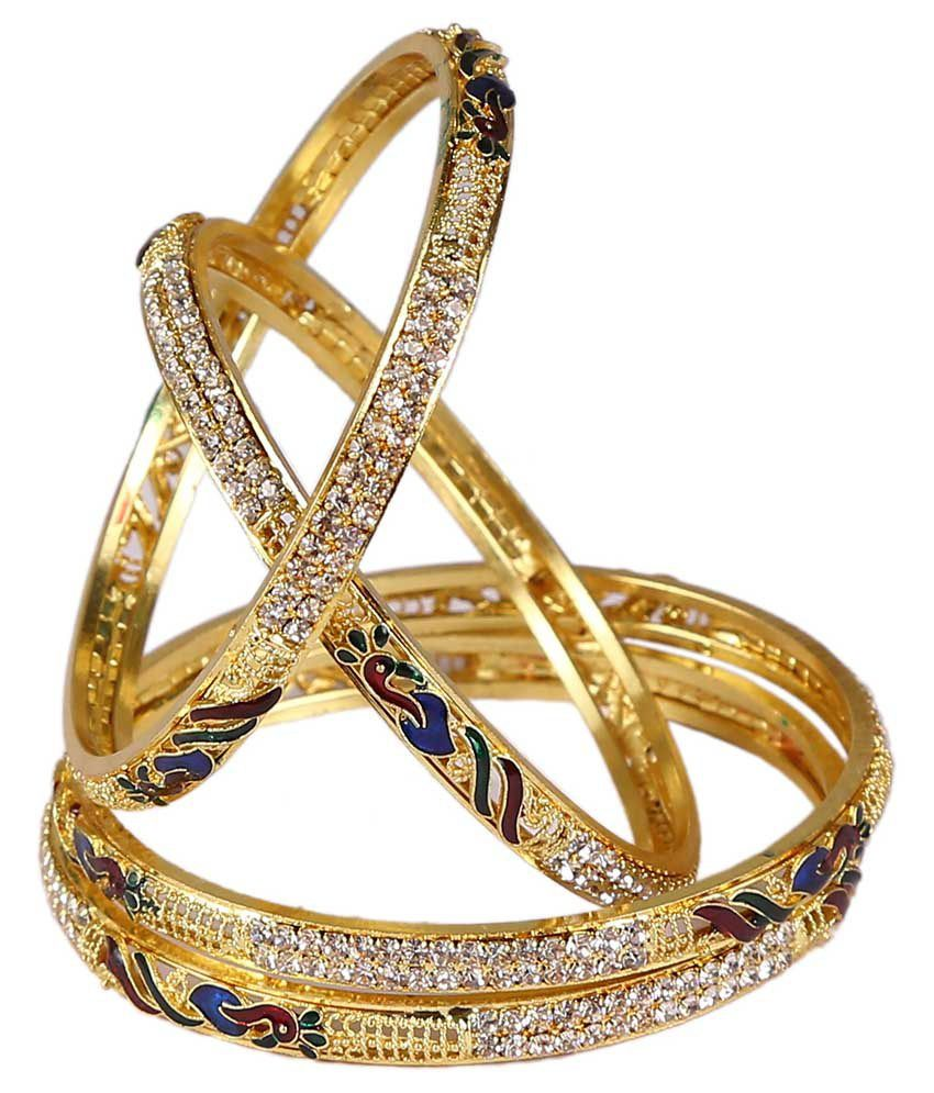 Glory Jewels Golden Alloy American Diamond Bangle - Pack Of 4
