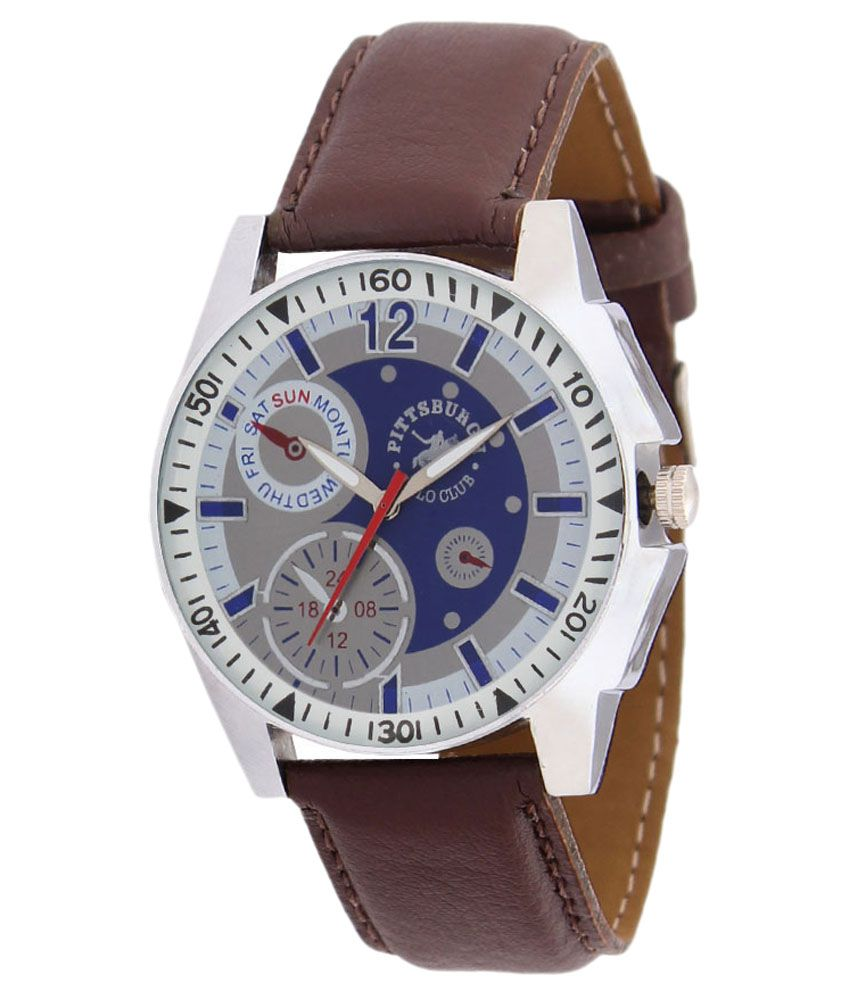 Pittsburgh Polo Club Pittsburgh Polo Club Brown Leather Round Analog Watch