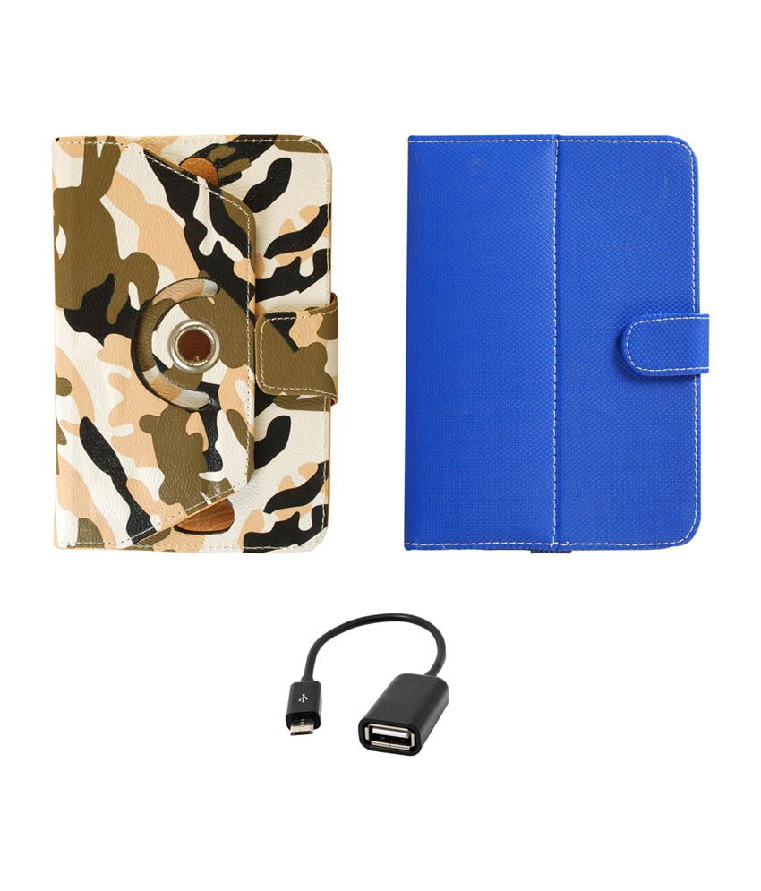 Reylon Pack of 2 Blue and Army Rotating Flip Cover for Simmtronics Xpad Turbo with Micro USB OTG Cable