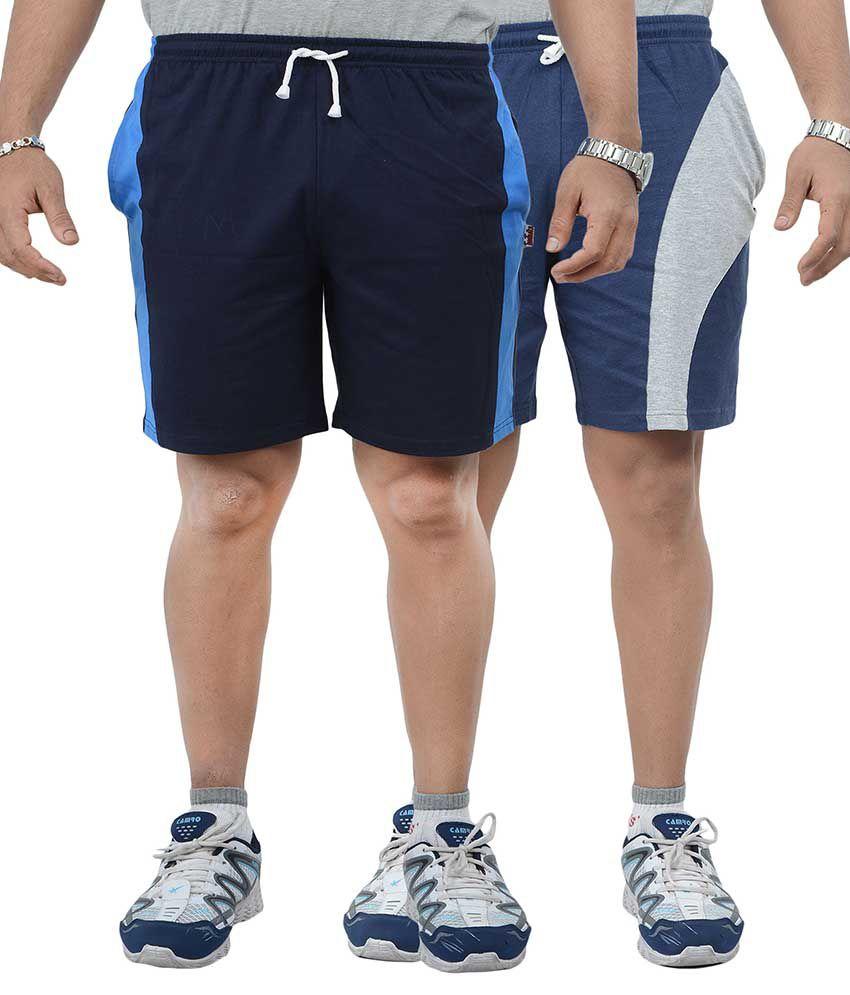 Teestadka Multicolor Solids Shorts - Pack Of 2