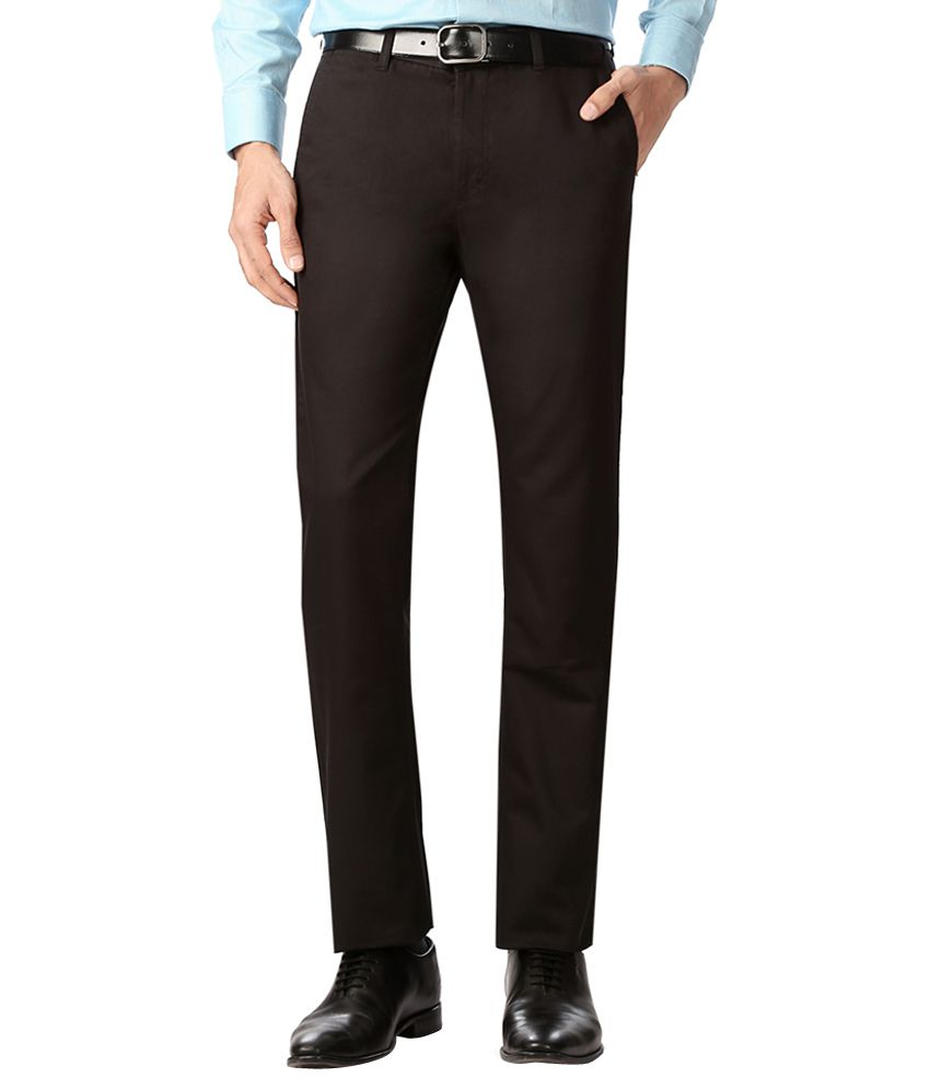 Allen Solly Black Regular Fit Formal Trousers