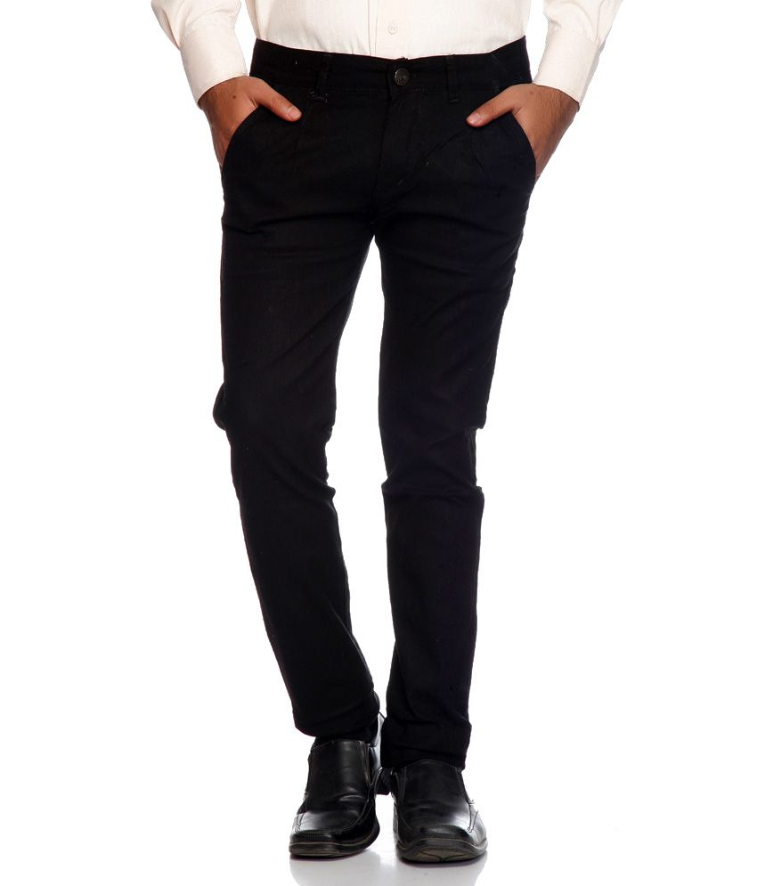 Ave Black Slim Fit Formal Chinos Trouser