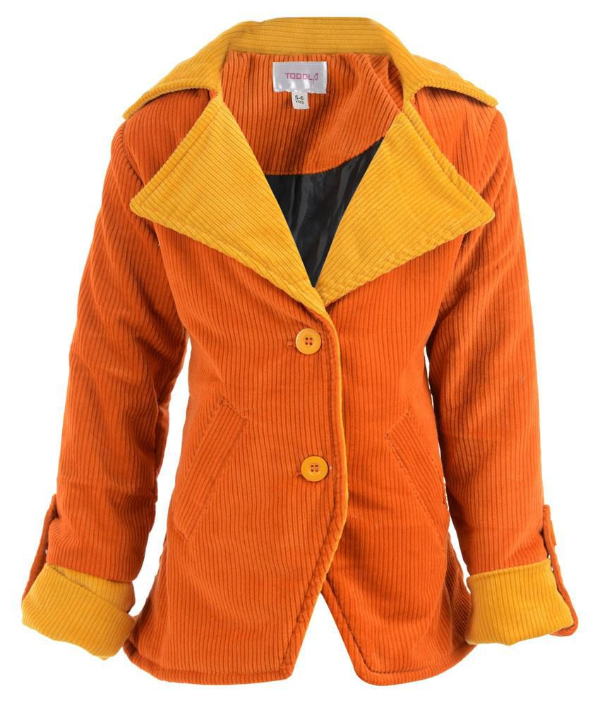 Toddla Orange & Yellow Corduroy Coat For Girls