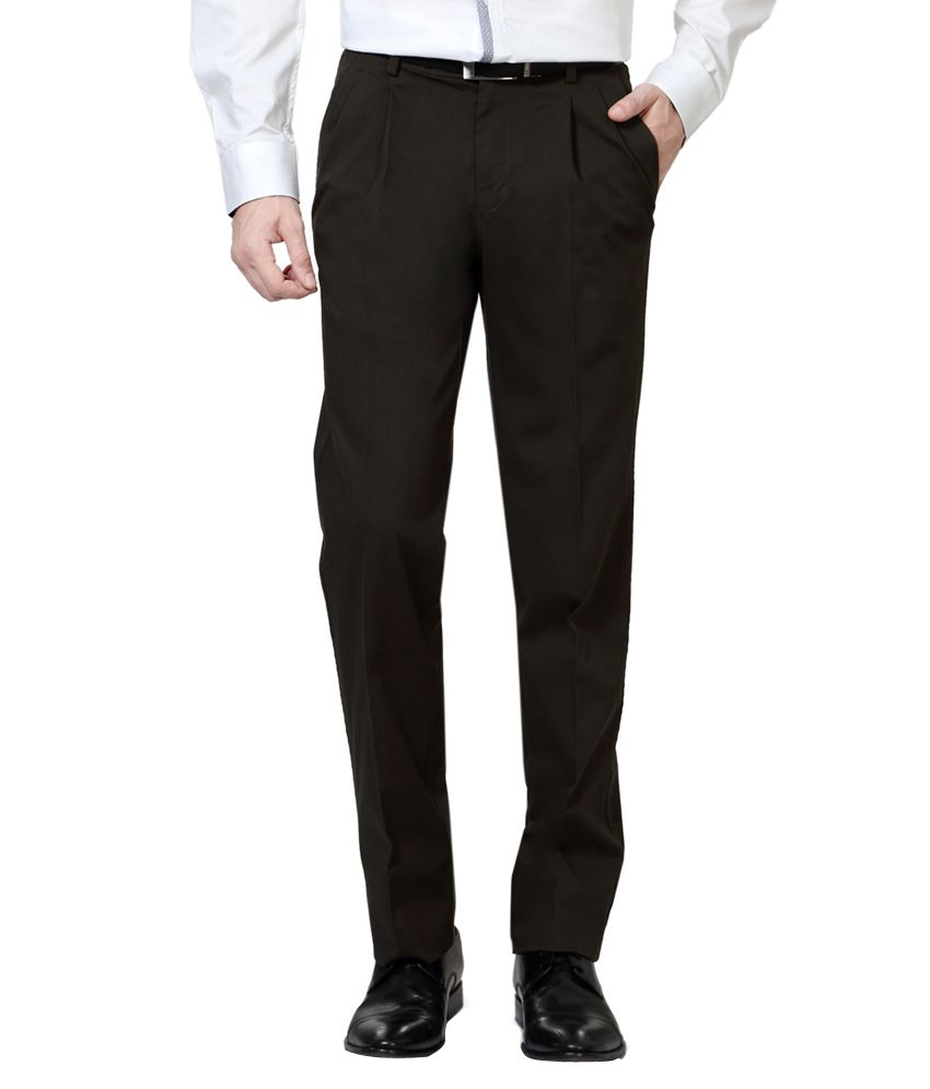 Van Heusen Green Regular Fit Formal Trousers