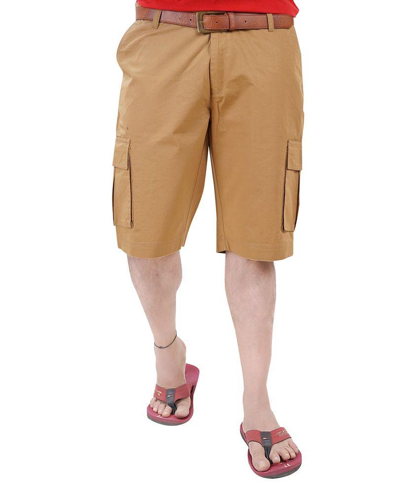 Diego Riviera Khaki Cotton Solid Shorts