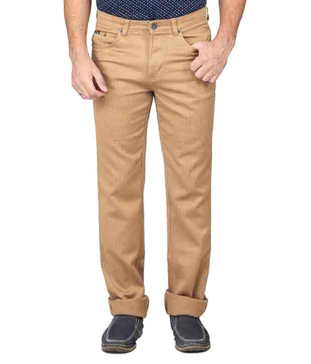 Irony Khaki Regular Fit Casual Flat Trouser For Men