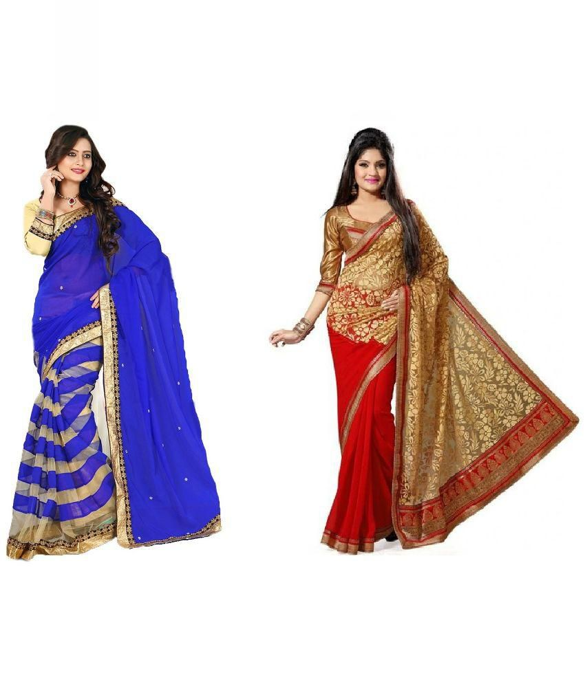 Krishna Emporia Multi color Faux Georgette Pack of 2