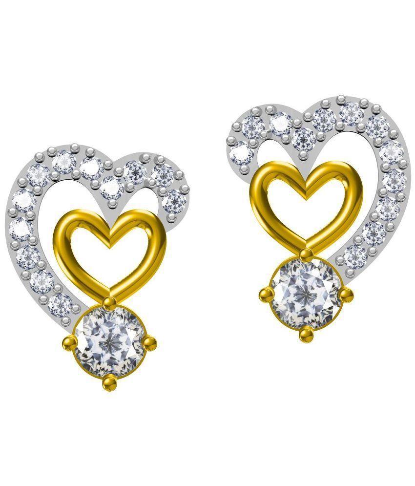 Twisha Golden Heart Shape Stud Earrings