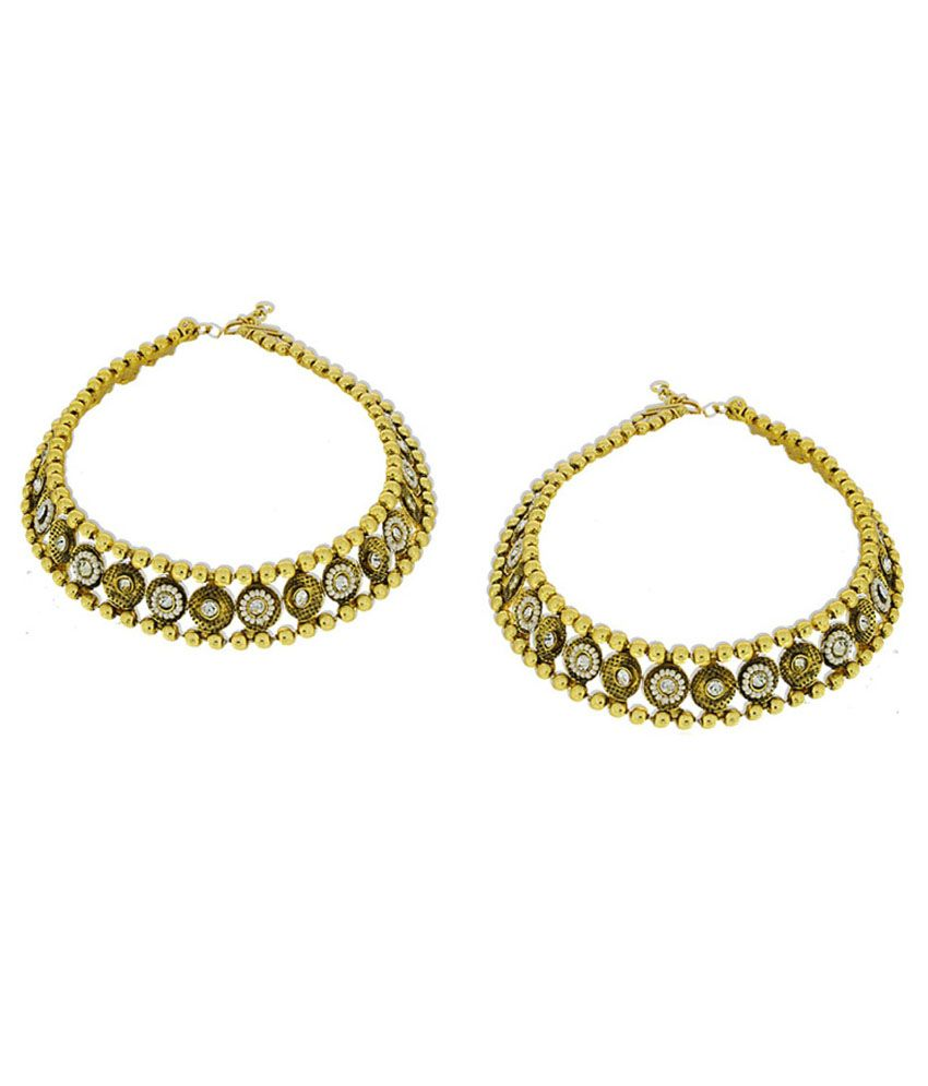 Anuradha Art Golden Cz Pair Of Anklets
