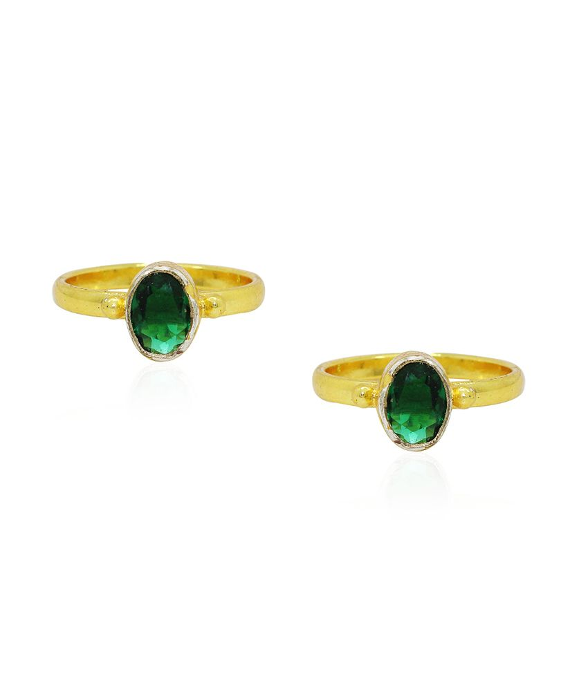 Frabjous Green Zircon German Silver Toe Ring