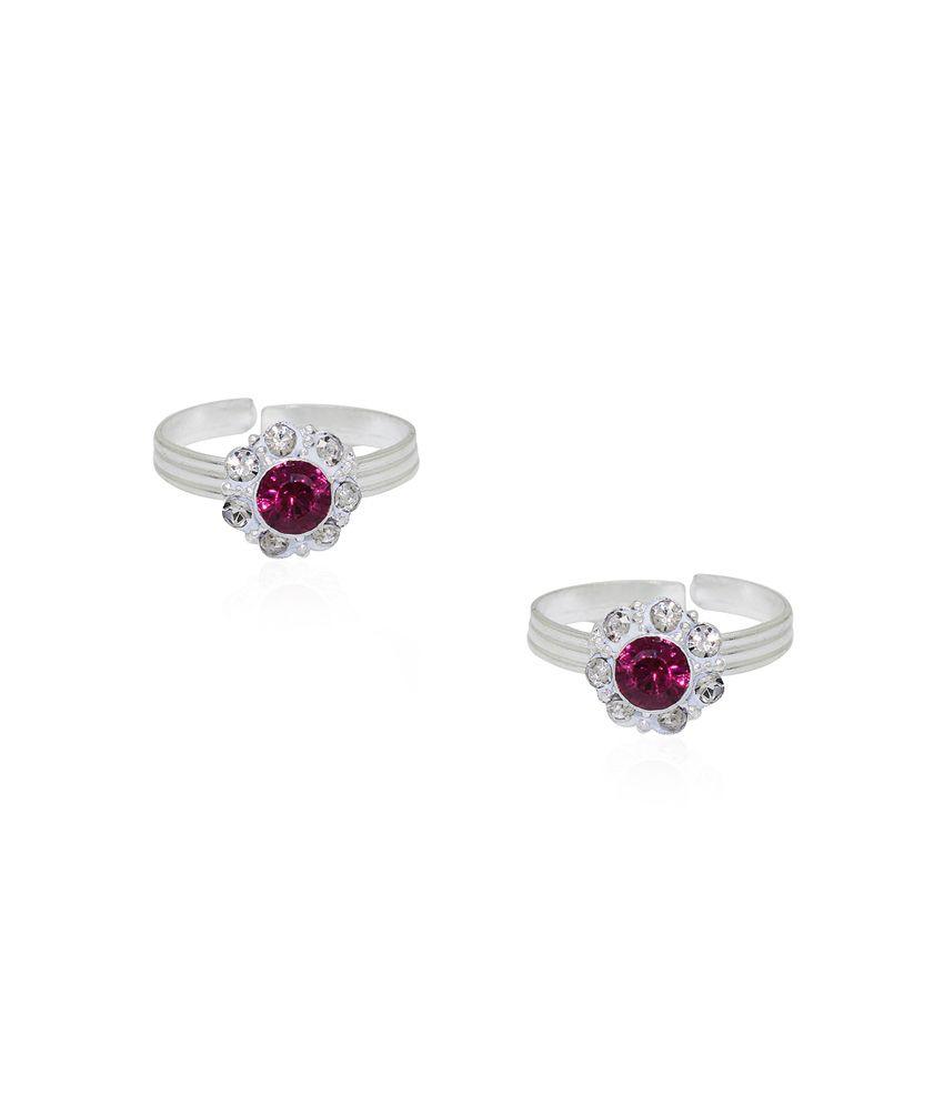 Frabjous Pink Zircon German Silver Toe Ring