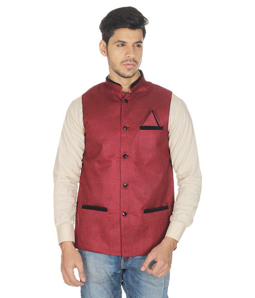 Selfieseven Maroon Cotton Blend Waistcoat