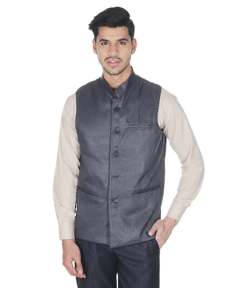 Selfieseven Navy Cotton Blend Waistcoat