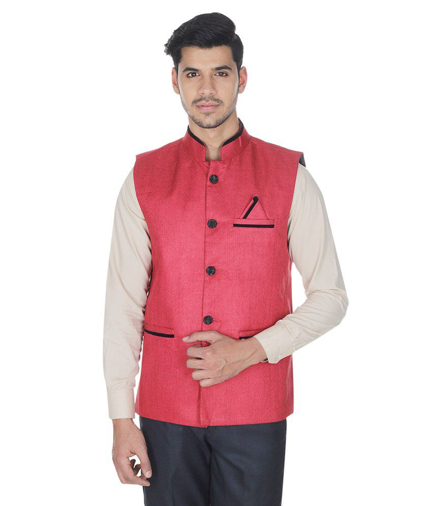 Selfieseven Red Cotton Blend Waistcoat