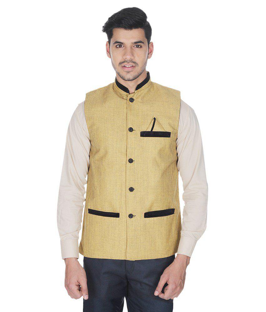 Selfieseven Yellow Cotton Blend Waistcoat