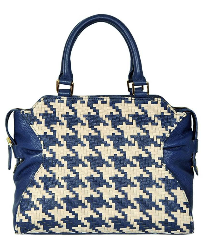 Taws Blue And Beige Satchel Bag