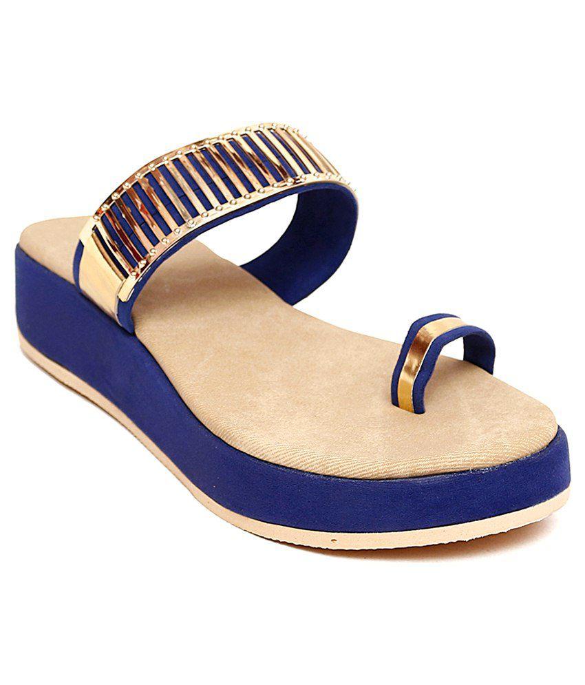 Trendy Footwear Blue Heeled Slip Ons