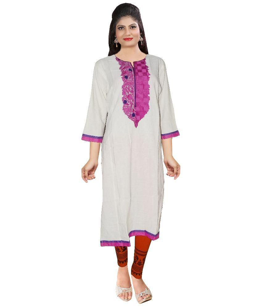 LOVELY LOOK White Cotton Kurti