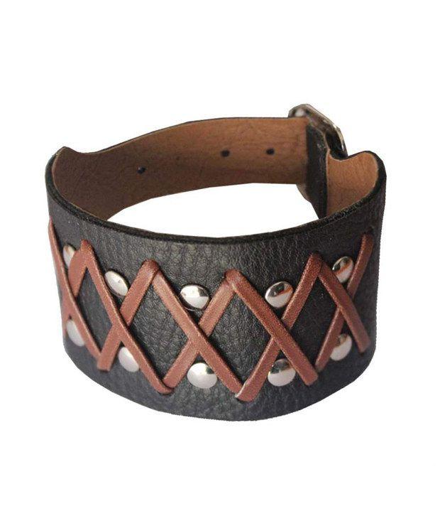 Mens Jewell Black Leather Bracelet