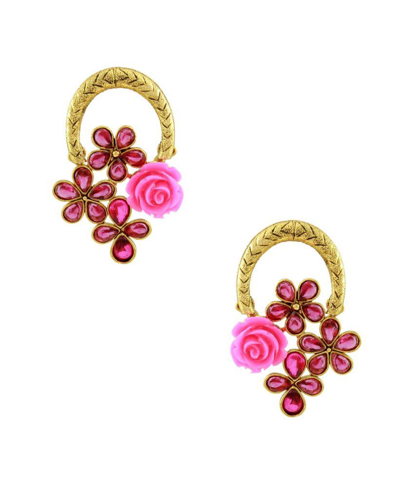 Orniza Pink Brass Earrings