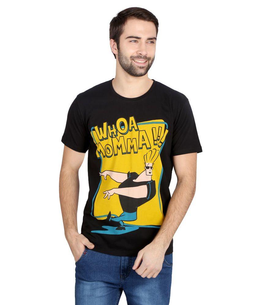 Planet Superheroes Black Cotton T-shirt