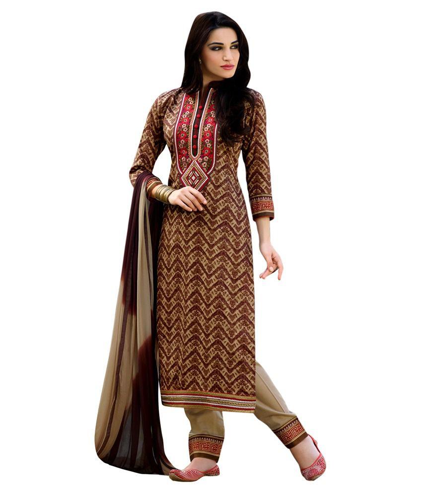 Saree Mall Multi Color Cotton Unstitched Dress Material