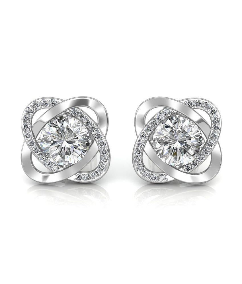 Sarvada Jewels Silver 18kt Gold Stud Earrings