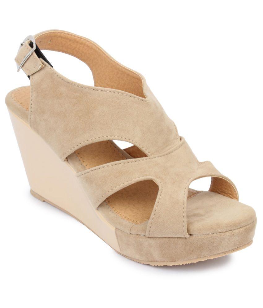 Amrit Footwear Beige Wedges Heels